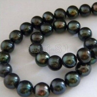 Natural AAA+ 9-10mm Black Pearl Round Loose Beads 15'' Strand