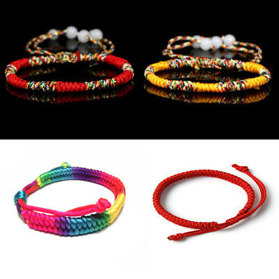 Lucky Tibetan Buddhist Handmade Knots Rope Bracelet Adjustable Size Rope Chain