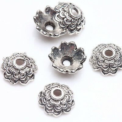 100X Tibet Silver Plated Flower Spacer Bead Caps Jewelry Findings Bracelet DIY