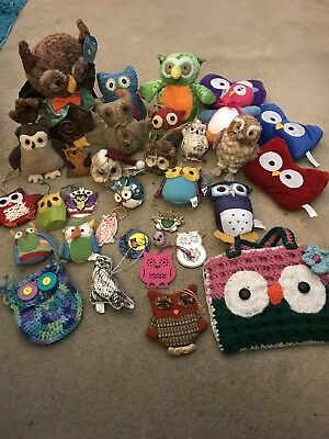 Lot Of 33 Miscellaneous Owls Glass, Wood, Plush, Crochet, Metal