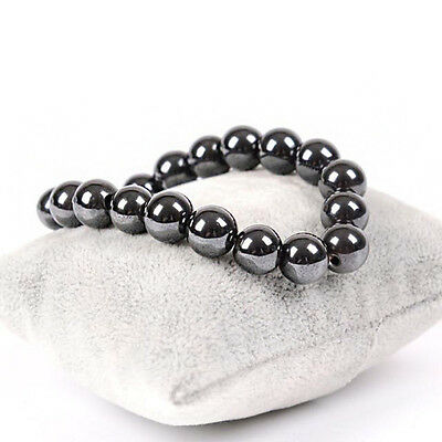 Men Women's Magnetic Hematite Round Ball Beads Stretch Elastic Bracelet