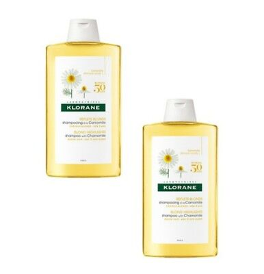 2 x 400ml - Klorane Blond Highlights Shampoo with Chamomile Extract - 27oz