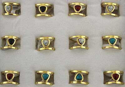 34pcs Wholesale Lots Small Cute Natural Stone Stainless Steel Women Rings AH1190