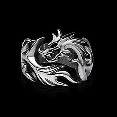 Newest Jewelry Men's Ring Alloy Punk Design Dragon Ring US Size 8 9 10 VNC