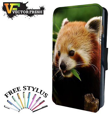 CUTE RARE RED PANDA BEAR - Leather Flip Wallet Phone Case Cover