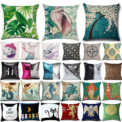 Cotton Linen Waist Throw Pillow Case Square Cushion Cover Home Bed Decoration