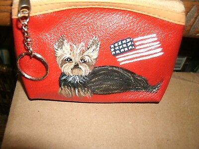 Hand Painted Art-Yorkie Terrier Gift Dog Art New Coin Purse