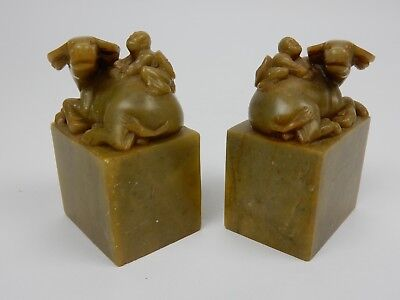 Pair of Antique Chinese Intricately carved SHOUSHAN STONE Seals