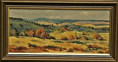 Original Vintage Framed Signed  Rural Landscape Country Oil Painting On Board