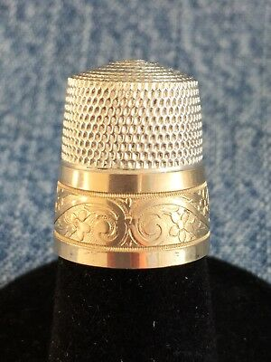 Vintage Simons Bros. Sterling Silver/Gold Sewing Thimble Engraved Pat - Size 11