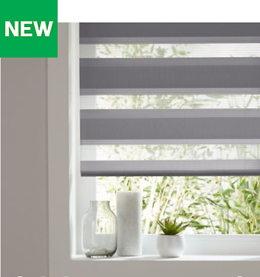 Colours Elin Day & Night Corded Dark Grey Roller Window Blinds Multiple Sizes