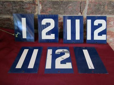 "Metal Double Sided Number Plates 5 1/2"" x 4"" Blue & White Lot of 7"