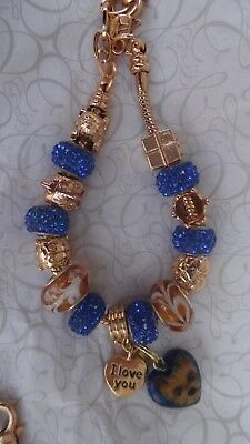 Hand Painted Yorkie Yorkshire Terrier  Bracelet with Charm Blue