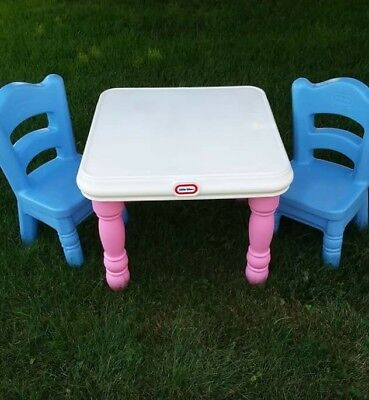 LITTLE TIKES VICTORIAN Tender Heart Table & Chairs Set Blue Pink ...