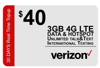 Verizon Wireless Prepaid sim card & $40 plan included.  First 3GB at high speed
