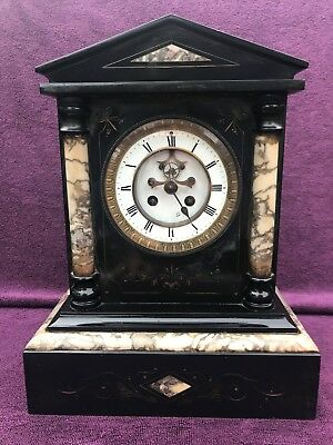 VINTAGE ANTIQUE FRENCH S. MARTI  PARIS SLATE GRANITE MANTEL CLOCK c1880
