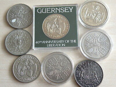 8 x CROWN SIZE COINS - GUERNSEY £2, 1953 CORONATION 1980 etc