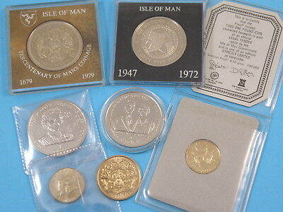 7x ISLE OF MAN COINS - CROWNS TWO POUNDS & VIRENIUM PROOF £1