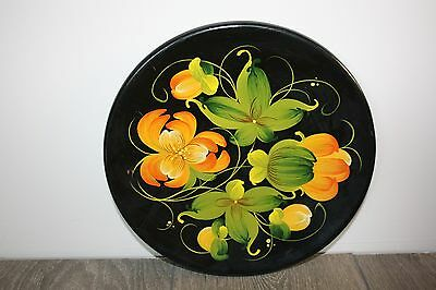 Russian Vintage Hand Painted Lacquered Wooden Decorative wall Plate Flowers USSR & 2 VINTAGE SOVIET Russian Metal Black Floral / Flower Hand Painted ...