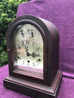 VINTAGE ANTIQUE GERMAN BRACKET MANTEL CLOCK WESTMINSTER CHIME c1900 working see