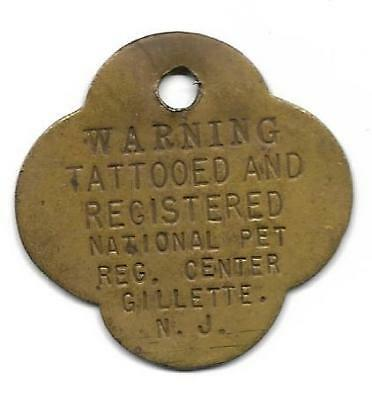 "UNDATED ""TATTOOED AND REGISTERED"" Dog Tag – Gillette, New Jersey"