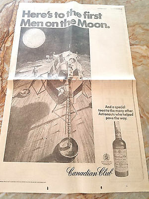 1969 Full page LA Times ad Canadian Club Whiskey FIRST MOON LANDING / Apollo 11