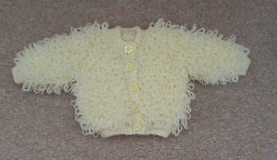 hand knitted baby girls loopy jacket pale lemon 0/3 months