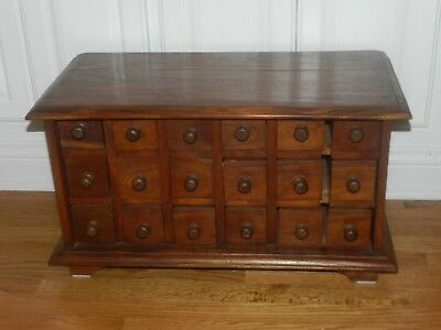 Vintage Solid Wood Apothecary Cabinet Spice 18 Drawers Organizer Jewelry Chest