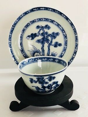 Nanking Chinese Shipwreck Cargo Small Blue Pine Tea Bowl and Saucer 1752