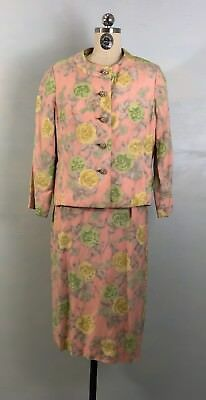 Vintage 60s 3 pc Suit Dress Top and Jacket in Floral Silk Wool Enamel Buttons L