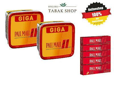 2 x Pall Mall Allround Red Volumentabak Giga Box 290g, 800 Extra-Hülsen,2 Feuer