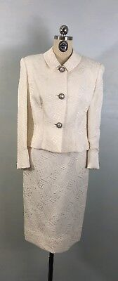 Vintage 60s White Suit William Pearson Skirt and Jacket Pearl Buttons sz Small