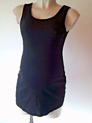 Next Maternity Black Ribbed Vest Camisole Top Size 14