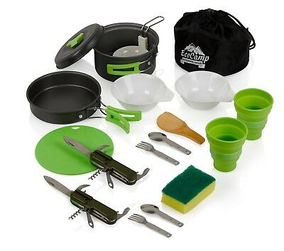 Mess Kit (14 Pcs) for Camping, Military, Backpacking, Hiking | Green