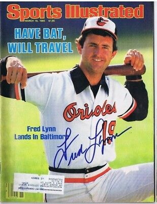 FRED LYNN SIGNED SPORTS ILLUSTRATED S.I. - Baltimore Orioles - Boston Red Sox