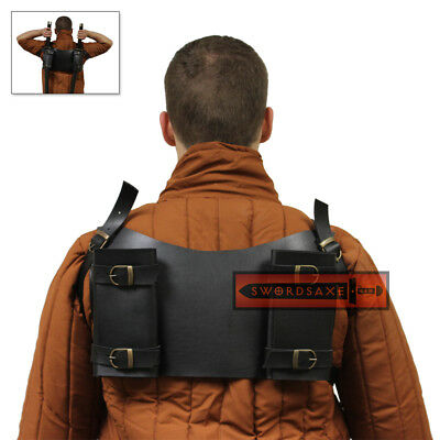 Back Mounted Dual Sword Frog Double Holster Strap Harness Leather Twin Katana