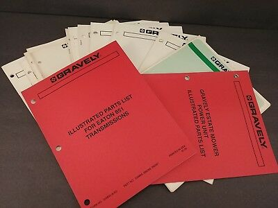 Mixed Lot of 15 Gravely Operators Manuals & Illustrated Parts Lists (a)