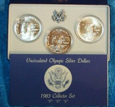 1983 P D S Olympic Silver Dollars Uncirculated 3 Coin Set US Mint OGP COA