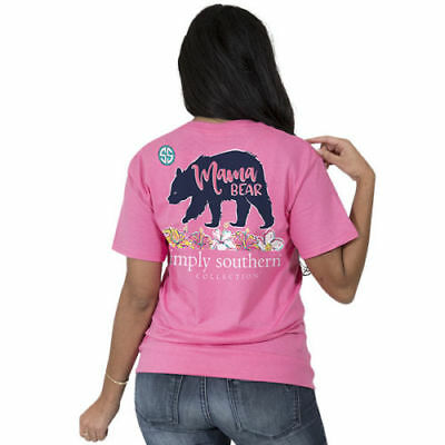 Simply Southern Tee Preppy MAMA BEAR in Strawberry Pink with Hibiscus Flowers