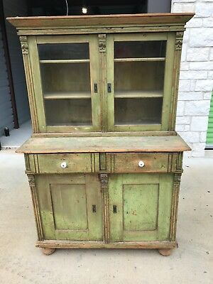 Primitive Antique Step Back Kitchen Cabinet / Cupboard Old Green Chippy Paint