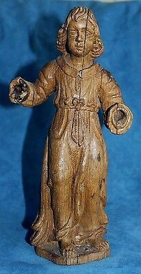 Antique 18th Century Carved St Anthony Wood Saint Santo Colonial Black Forest