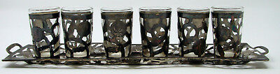 Vintage Mexico Sterling Silver Tequila Shot Glasses Six 6 Tray Set Taxco Marked