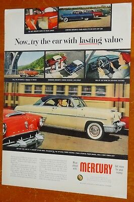 1954 MERCURY MONTEREY COUPE WITH TRANSIT BUS BEAUTIFUL AD - VINTAGE 50s AMERICAN