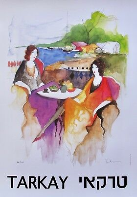 Itzchak Tarkay OUTDOOR CAFE Facsimile Signed Limited Edition Large Lithograph