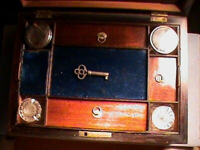 Antique 1800s 19th Century Portable Lap Writing Desk Box With Contents