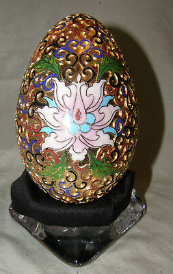 Vintage Chinese Cloisonne Goose Egg Hand Made 24ct Gold Lotus Flowers 15 cm Tall