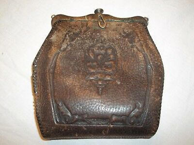 Vintage Arts & Crafts Tool Leather & Hammered  Purse Bag Early 1900's