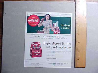 1940 COCA COLA FOLD OUT COLOR POSTCARD OFFERING FREE CARTON OF COKES Fine