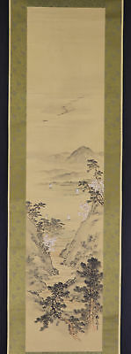 """JAPANESE HANGING SCROLL ART Painting Scenery """"Coast"""" Asian antique  #E2916"""