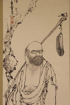 """JAPANESE HANGING SCROLL ART Painting """"Arhat"""" Asian antique  #E2906"""